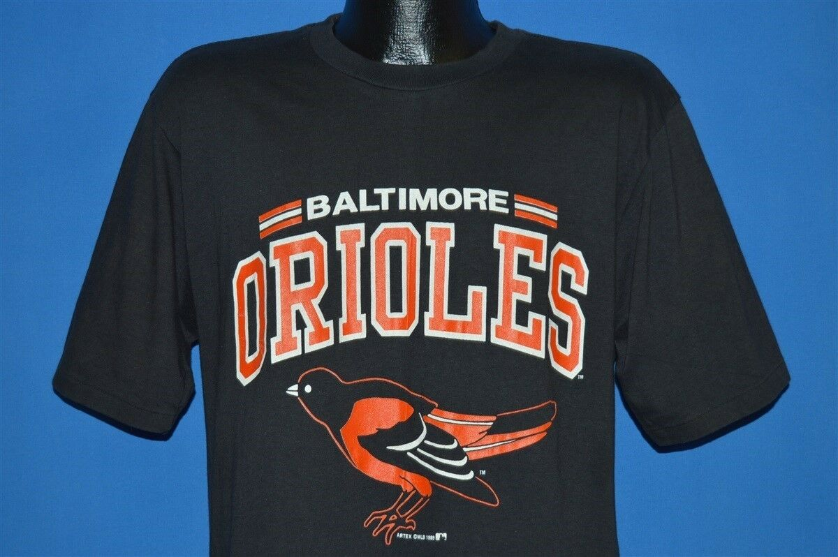 896f40e8a43 Details about vintage 80s BALTIMORE ORIOLES MLB BASEBALL TEAM LOGO THE O S BLACK  t-shirt L