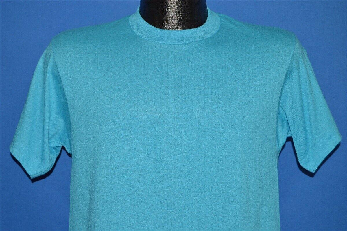 Vintage 80s Screen Stars 50//50 Retro T Shirt Blank Deadstock Mens Medium Black