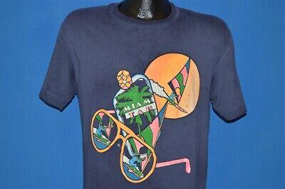 vintage 80s MIAMI TAN WINDSURF SUNGLASSES PALM TREE DISTRESSED t-shirt MEDIUM (Miami Blues Shades)