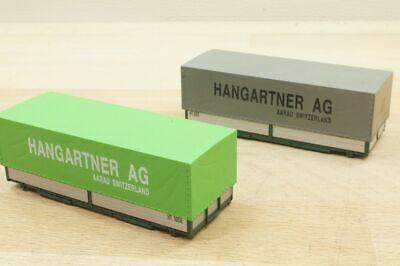 """Roco 2 Stück 20 ft (Fuß) Container Wechselpritsche """" Hangartner AG """" ohne OVP"""
