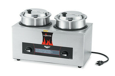 Vollrath 72040 Twin Well Rethermalizer 4 Quart W Insets Hinged Cover