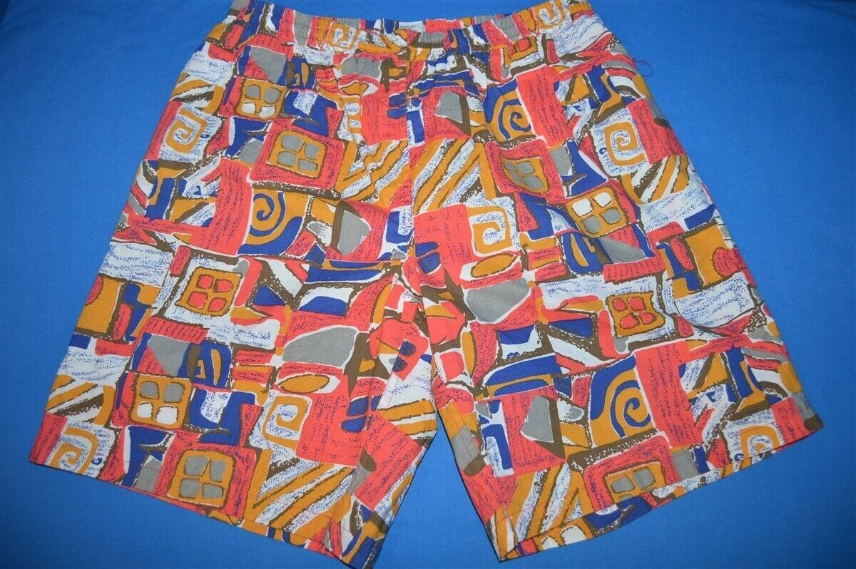 5f884a9ebf Details about vintage 90s TRIBAL PRINT JAMS COTTON NYLON LINED MEN'S SHORTS  SWIMSUIT TRUNKS M