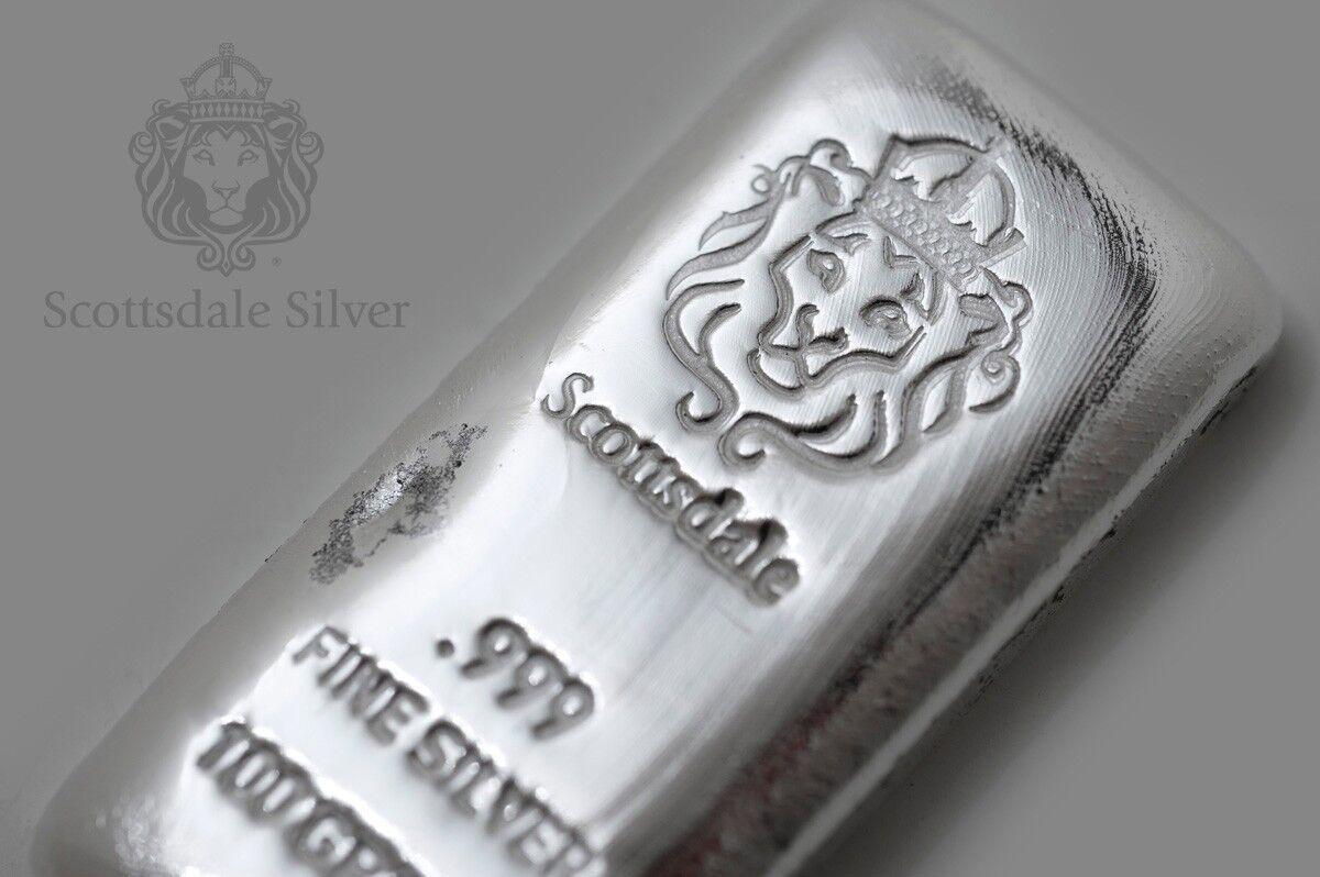 100 Gram Cast Silver Bar by Scottsdale Mint .999 Silver Bullion - 100g  #A130