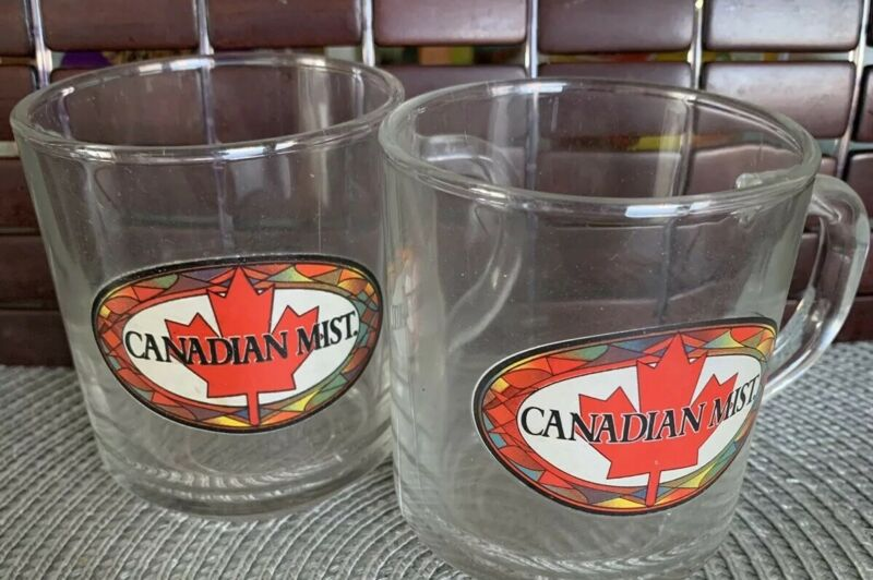 Canadian Mist Glass Mug Maple Leaf Design Canada Coffee Tea Cup. Stock #1/520