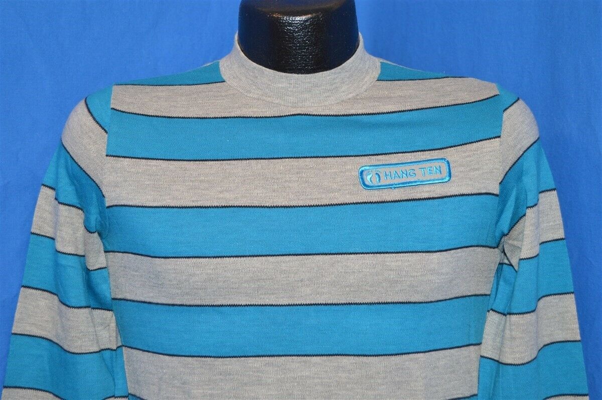 18072b8d4 Details about vintage 70s HANG TEN SURF SURFING GREY BLUE HIGH COLLAR LS  STRIPED t-shirt S