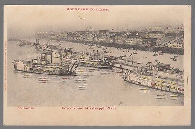 Hold-To-Light Postcard St. Louis Levee Scene on Mississippi River Boats & Houses