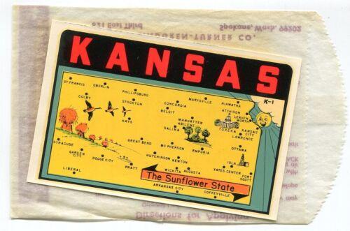 KANSAS The Sunflower State vintage unused travel decal #K-1 L/Turner  free ship