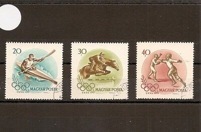 Hungary 1956 SG1460-2 3v of set NH/Used Melbourne Olympics-Kayak/Fencing/ShowJum