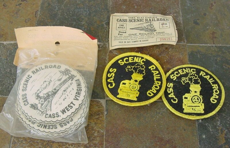 Vintage Cass Scenic Railroad, West Virginia - Coasters, Patches, Ticket