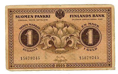 Finland ... P-19 ... 1 Mark ... 1916 ... *VF*