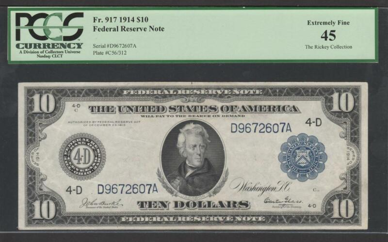 """Fr.917 1914 $10 CLEVELAND """"BURKE-GLASS""""  FRN + PCGS 45 CHOICE EXTREMELY FINE"""
