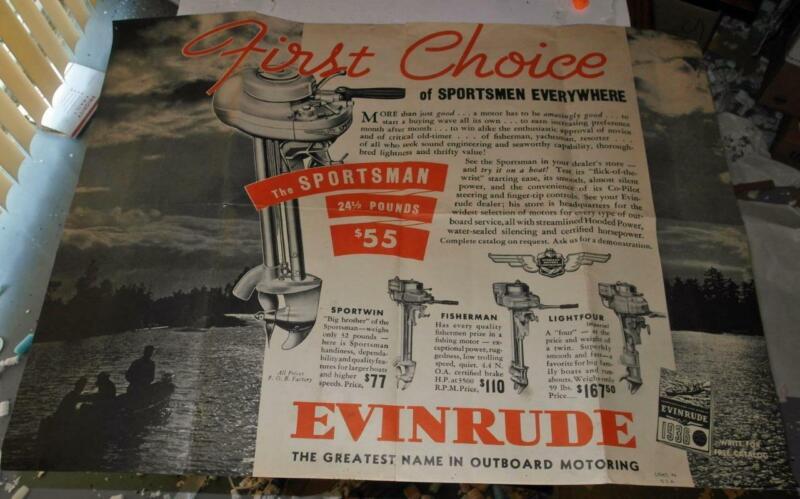 VINTAGE 1936 LARGE EVINRUDE BOAT MOTORS SALESROOM POSTER
