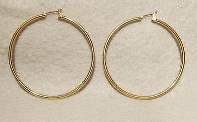 Medium Hoop Earrings ~ Pierced ~ Gold Plated - Medium Pierced Plate