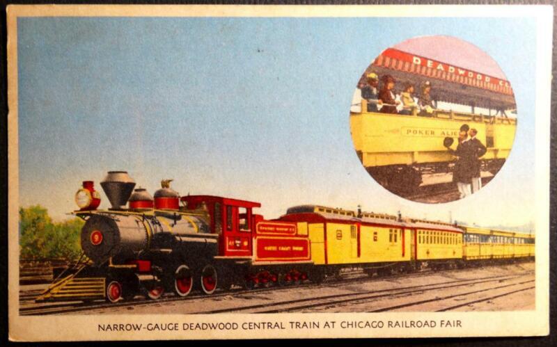 Postcard Narrow Gauge Deadwood Central Train at Chicago Railroad Fair Burlington