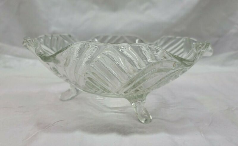 Vintage Anchor Hocking 3 Footed Clear With Swirl Glass Bowl