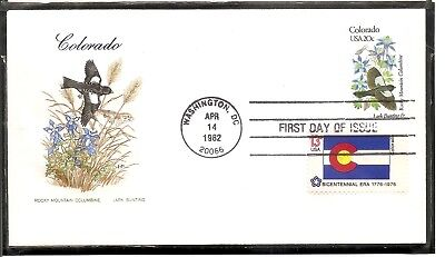 US SC # 1958 State Birds And Flowers ( Colorado ) FDC. Combo. HF Cachet .