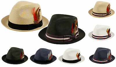 Fedora Hat w/ Band and Removable Feather Summer Cool Hat Curled Brim](Fedora Hat Feathers)