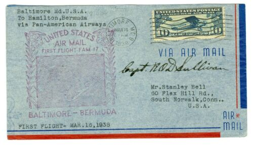 R.O.D. SULLIVAN PILOT SIGNED PANAM FLIGHT COVER BALTIMORE TO BERMUDA CLIPPER,C10