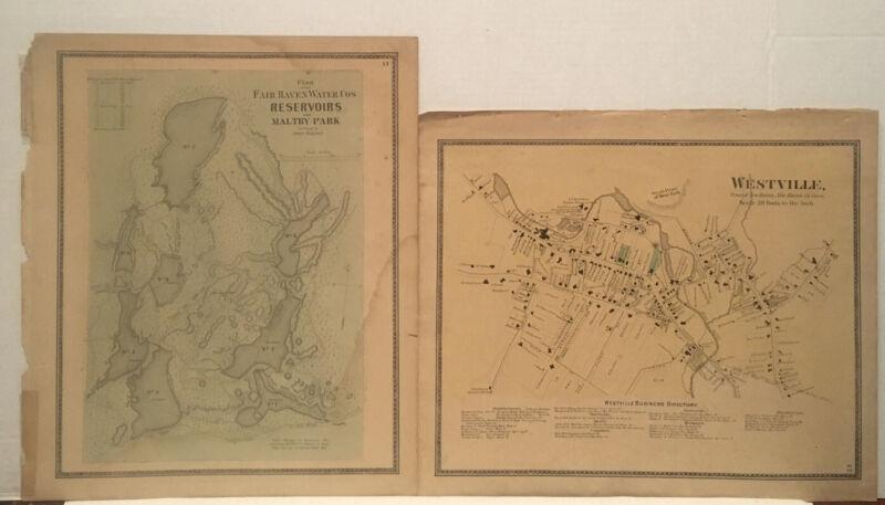Lot Of TWO New Haven CT 1868 Maps ,Fair Haven ,Maltby Park : Westville Busine