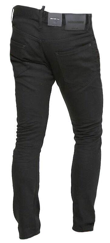 Dettagli su DSQUARED2 Pantaloni Uomo Jeans S71LB0376 S30564 Col 900 Nero Made Italy Cotone