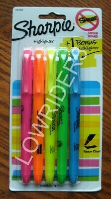 Sharpie Accent Pen Highlighters Narrow Chisel Assorted 5-pack Free Shipping New