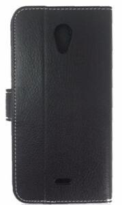 BLU Studio X Plus Premium Faux Leather Canvas Book Style Card Slot Folding Flip Folio Wallet Cover Stand Case