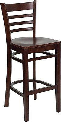 Mahogany Wood Finished Ladder Back Restaurant Bar Stool With Matching Wood Seat