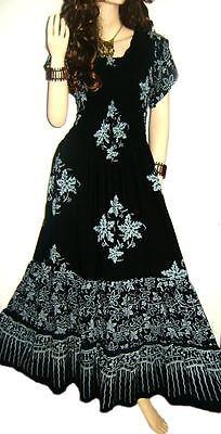 3-TIER Funky Long Urban Design Ladies Maxi Dress Ethic Stunning Gypsy Holiday ()