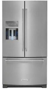 KitchenAid KRFF707ESS Platinum Interior French Door Refrigerator 26.8 Cu Ft, Led Lighting