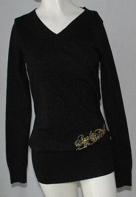 Used, Apple Bottoms Sweater Ladies Large L Black Gold Glitter V-Neck Long Sleeves Logo for sale  Shipping to India