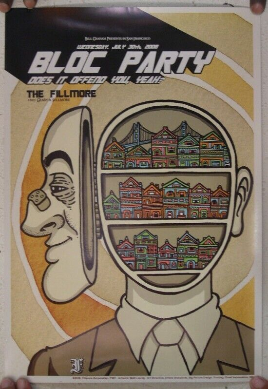 Bloc Party Poster Does It Offend You Yeah Fillmore July 30 2008 Mint Block