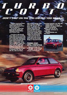1984 Dodge Colt Turbo Classic Advertisement Ad (1984 Dodge Colt)