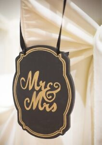 Gold and Black: Mr. & Mrs. Wooden Pew Signs (wedding)