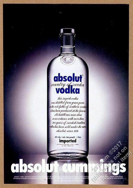 1997 absolut cummings e e cummings vodka bottle theme vintage print ad