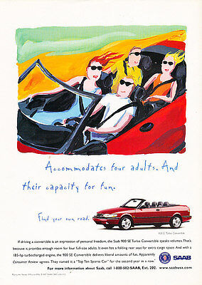 1997 Saab 900 Convertible red - Classic Vintage Advertisement Ad A13-B