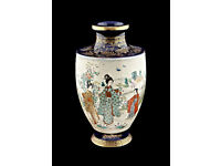 JAPANESE VASE - hand decorated porcelain vintage vase - mid 20th Century