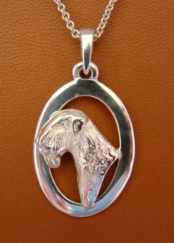 Large Sterling Silver Wheaten Terrier Head Study Pendant On A Oval Frame