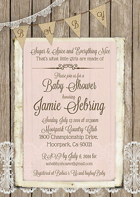30 Pink Shabby Chic Wood and Lace Rustic Baby Girl Shower Invitations 5x7 - Rustic Baby Shower Invitations