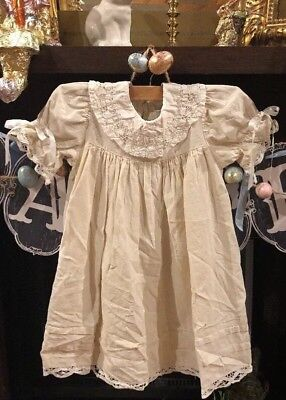 Victorian Heirlooms Vintage Easter Church Linen Dress Lace Collar Smocked Size 6 - Heirloom Easter Dresses