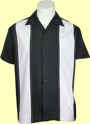 (Daddy-O's Black & White Double Panel Camp, Retro, Bowling Shirt - USA Made SM-3X)
