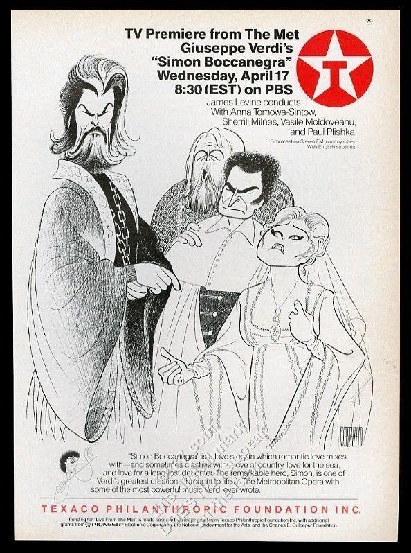 1985 Al Hirschfeld Sherrill Milnes Anna Tomowa-Sintow art Texaco opera print ad
