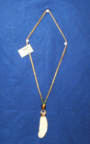 """Carved 3.5"""" Feather Necklace 26"""" Leather Cord  Green Beads Native American 05"""