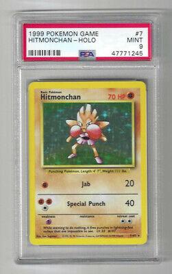 PSA 9 MINT Hitmonchan 7/102 Base Set HOLO RARE Pokemon Card Invest!! Pop 124