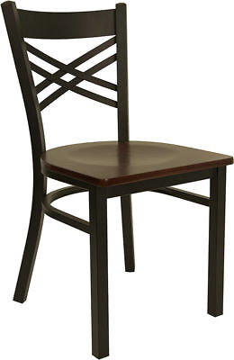 Lot Of 20 Metal X Back Restaurant Chairs With Mahogany Wood Seat