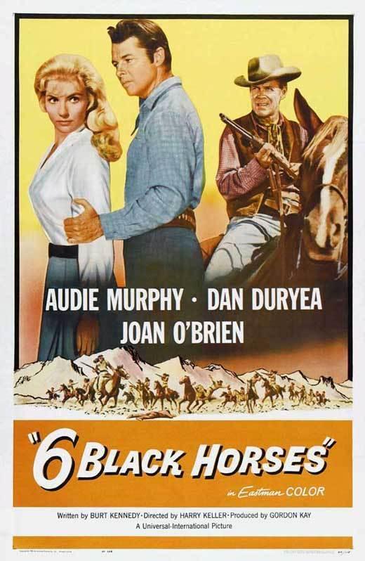 SIX BLACK HORSES Movie POSTER 27x40 Audie Murphy Dan Duryea Joan O