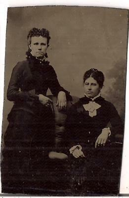 Victorian Fancy Fashion Women Standing/Seated Antique 1890s Tintype Photo