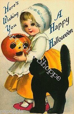 Fabric Block Halloween Vintage Postcard Image Holland Girl Black Cat Greetings