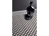 CERAMIC VICTORIAN BLACK AND WHITE TILES IN SIZE 331X331MM