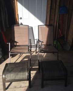 2 patio chairs & stools