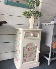 Pretty shabby chic floral and cream bedside cabinet